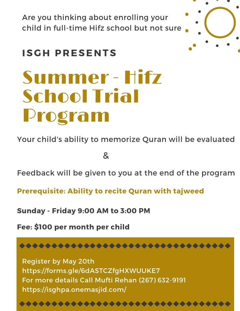 Isgh summer hifz school